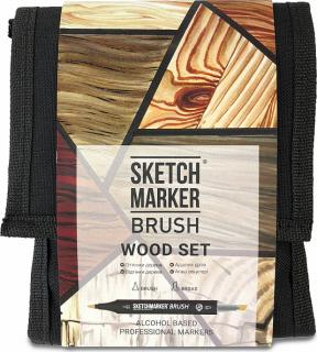 Купить Набор маркеров Sketchmarker Brush 12 Wood Set- Оттенки дерева (12 маркеров+сумка органайзер), Япония